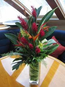 An arrangement of large heliconia flowers from Good Moon Farm.